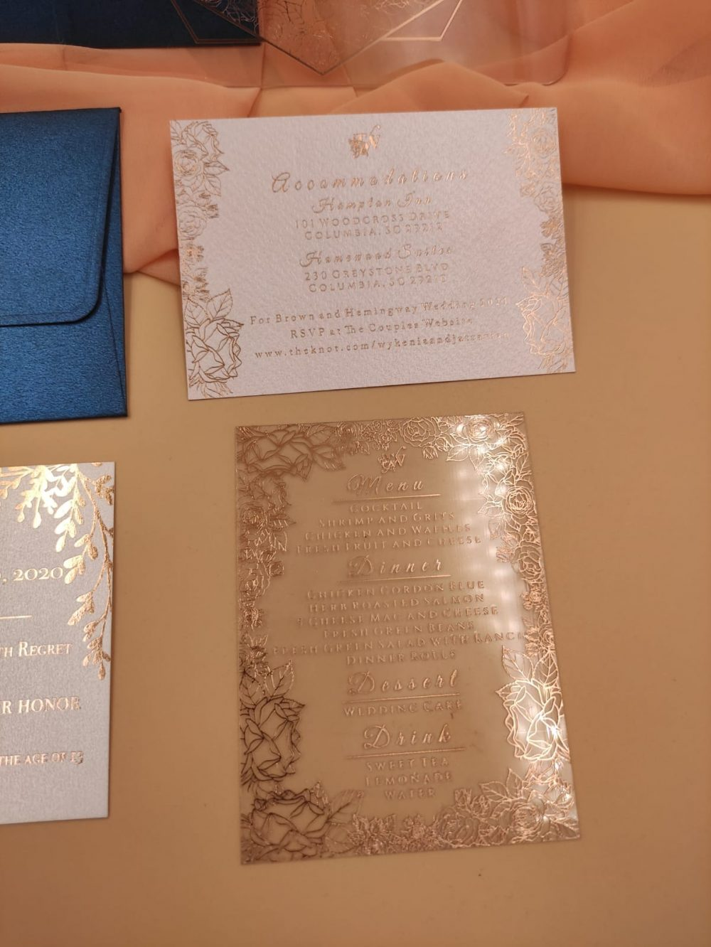 Custom Boxed Colorful Floral Acrylic Wedding Invitation Suite, Clear, Real Foil, Handmade, My Lovely Store, PHT005