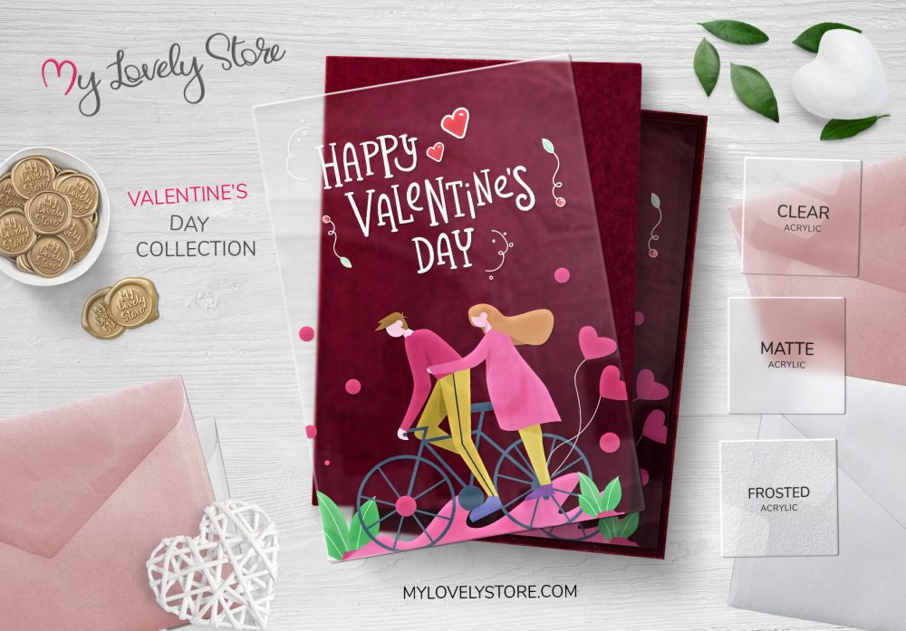 Cute Couple Cycling Transparent Valentine's Day Card