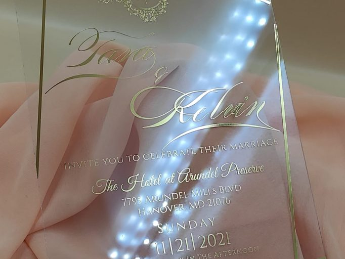 Custom Boxed Unique Acrylic Wedding Invitation Suite, Transparent, Simple, Handmade, My Lovely Store, PHT008